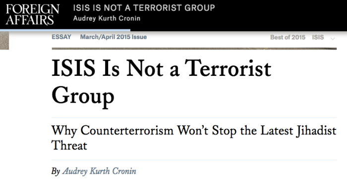 ISIS not a terrorist group 1