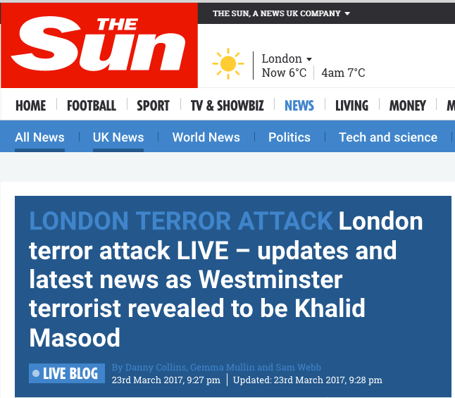 The Sun Terrorist attack — live blog headline